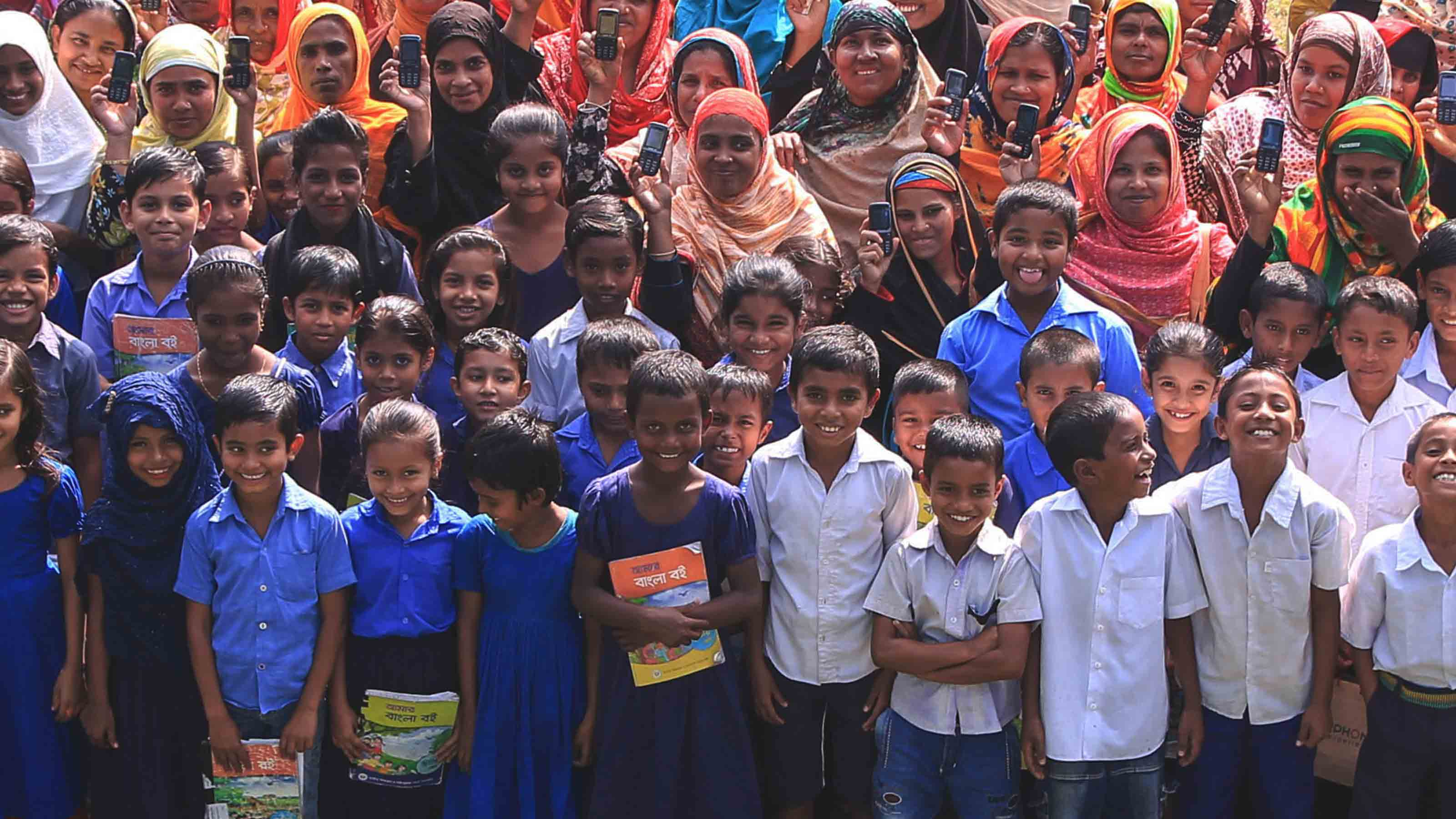 Group photo with children from Bangladesh