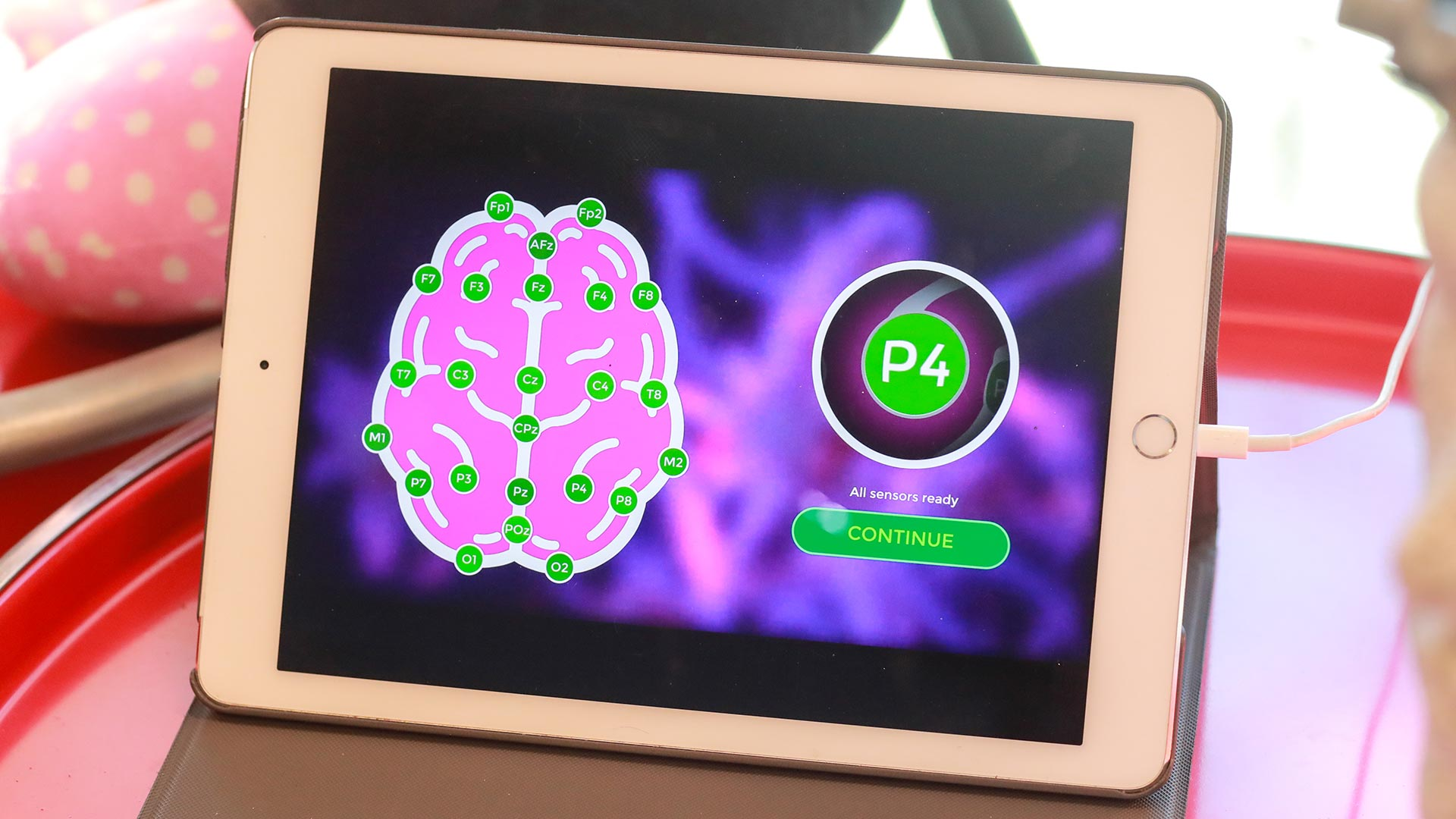 Tablet device running BrainTrip app