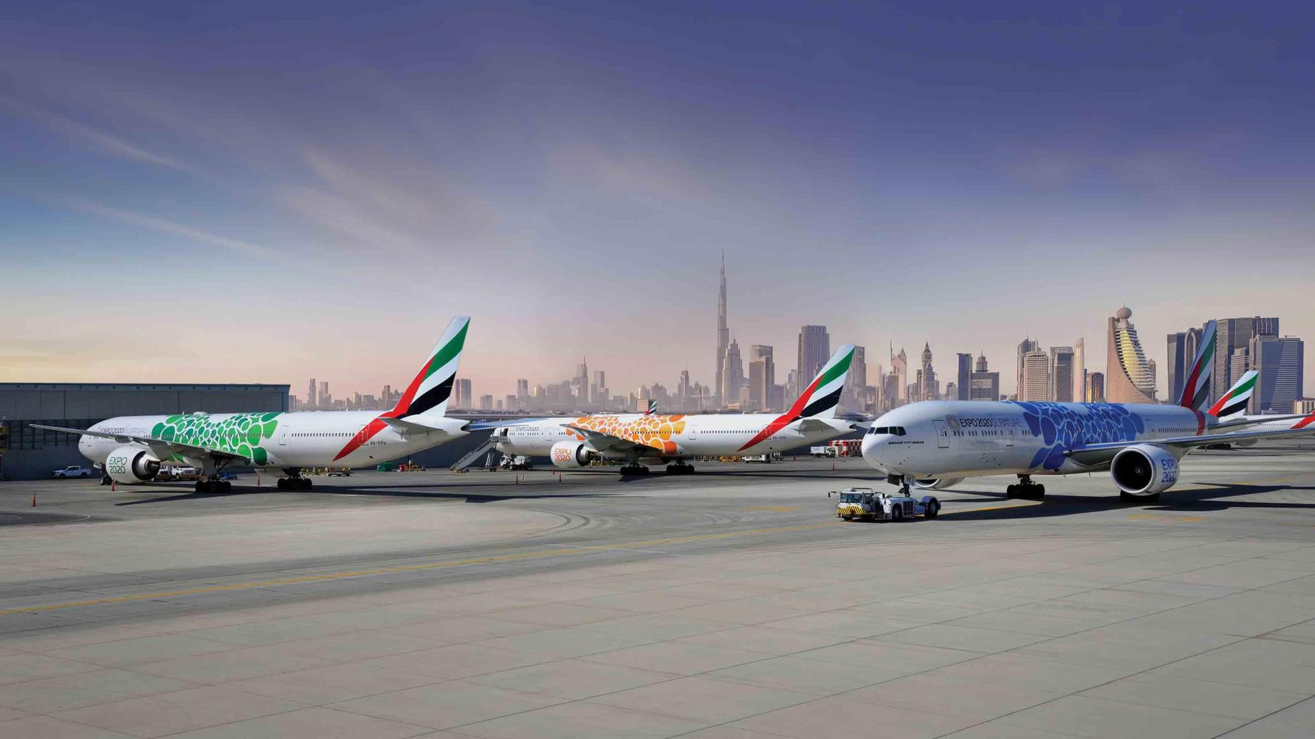 Emirates aircraft at Dubai airport