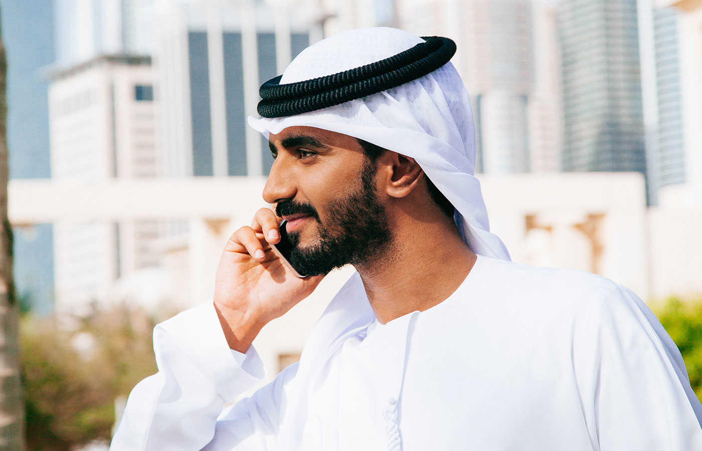 Emirati gentleman on the mobile phone